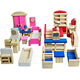 Seanmi Wooden Dollhouse Furniture - 5 Sets,...