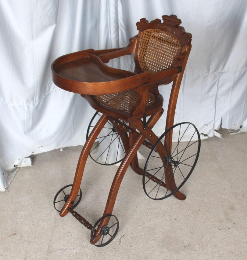 Antique Victorian Walnut High Chair Stroller Victorian Time Convertable