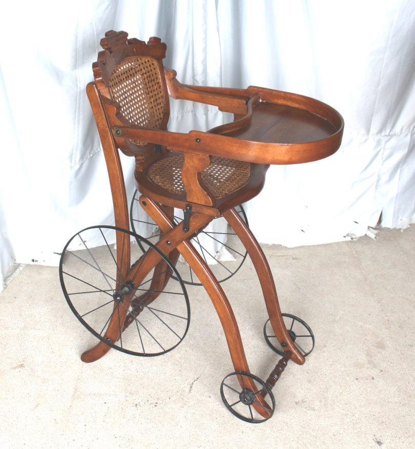 Antique Victorian Walnut High chai Stroller
